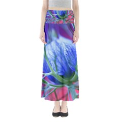 Blue Flowers With Thorns Maxi Skirts