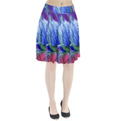Blue Flowers With Thorns Pleated Skirt