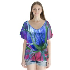 Blue Flowers With Thorns Flutter Sleeve Top