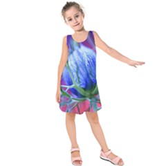 Blue Flowers With Thorns Kids  Sleeveless Dress