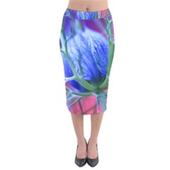 Blue Flowers With Thorns Velvet Midi Pencil Skirt