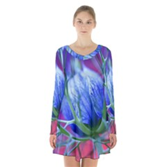 Blue Flowers With Thorns Long Sleeve Velvet V Neck Dress