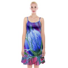 Blue Flowers With Thorns Spaghetti Strap Velvet Dress