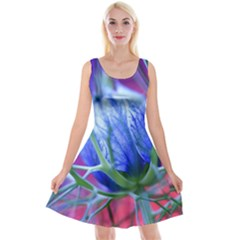 Blue Flowers With Thorns Reversible Velvet Sleeveless Dress