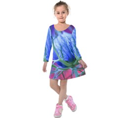 Blue Flowers With Thorns Kids  Long Sleeve Velvet Dress