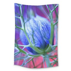Blue Flowers With Thorns Large Tapestry