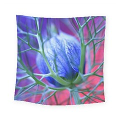 Blue Flowers With Thorns Square Tapestry (Small)