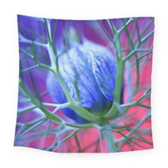 Blue Flowers With Thorns Square Tapestry (large)