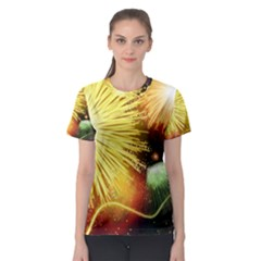 Celebration Colorful Fireworks Beautiful Women s Sport Mesh Tee