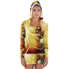Celebration Colorful Fireworks Beautiful Women s Long Sleeve Hooded T-shirt
