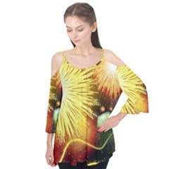 Celebration Colorful Fireworks Beautiful Flutter Tees