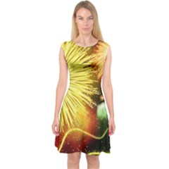 Celebration Colorful Fireworks Beautiful Capsleeve Midi Dress