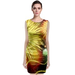 Celebration Colorful Fireworks Beautiful Sleeveless Velvet Midi Dress