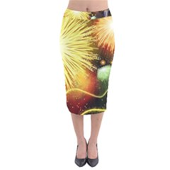 Celebration Colorful Fireworks Beautiful Velvet Midi Pencil Skirt