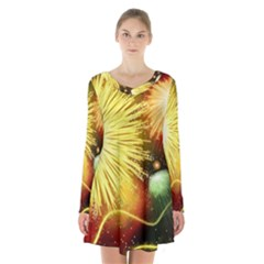 Celebration Colorful Fireworks Beautiful Long Sleeve Velvet V Neck Dress