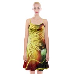 Celebration Colorful Fireworks Beautiful Spaghetti Strap Velvet Dress