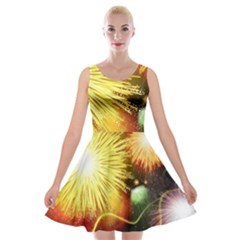 Celebration Colorful Fireworks Beautiful Velvet Skater Dress