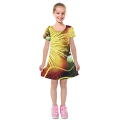 Celebration Colorful Fireworks Beautiful Kids  Short Sleeve Velvet Dress