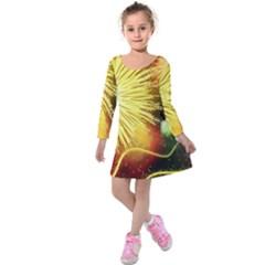 Celebration Colorful Fireworks Beautiful Kids  Long Sleeve Velvet Dress