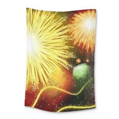 Celebration Colorful Fireworks Beautiful Small Tapestry