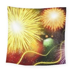 Celebration Colorful Fireworks Beautiful Square Tapestry (large)
