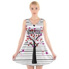 Love tree V-Neck Sleeveless Skater Dress
