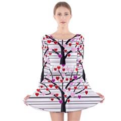Love tree Long Sleeve Velvet Skater Dress