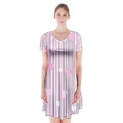Pink love Short Sleeve V-neck Flare Dress