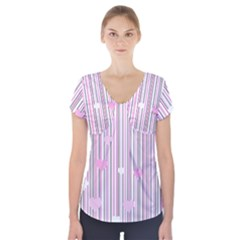 Pink love Short Sleeve Front Detail Top