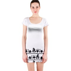 Simple Black And White Design Short Sleeve Bodycon Dress