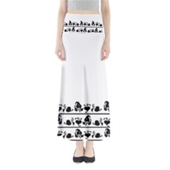 Simple black and white design Maxi Skirts