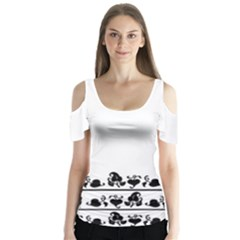 Simple black and white design Butterfly Sleeve Cutout Tee