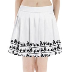 Simple black and white design Pleated Mini Skirt