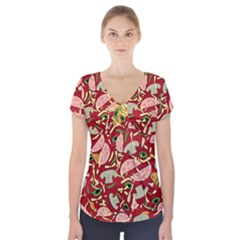 Pizza pattern Short Sleeve Front Detail Top