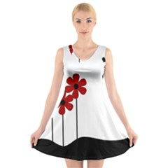 Flowers V-Neck Sleeveless Skater Dress