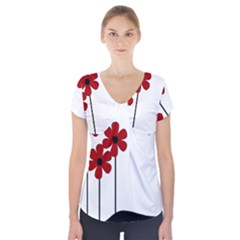 Flowers Short Sleeve Front Detail Top