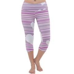 Pink Valentines day design Capri Yoga Leggings