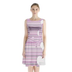Pink Valentines day design Sleeveless Chiffon Waist Tie Dress