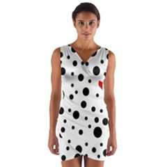 Dots and hart Wrap Front Bodycon Dress