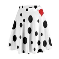 Dots and hart High Waist Skirt