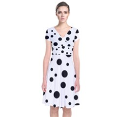Dots and hart Short Sleeve Front Wrap Dress