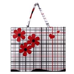 Cute floral desing Zipper Large Tote Bag