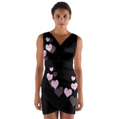 Pink harts design Wrap Front Bodycon Dress
