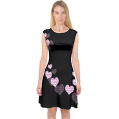 Pink harts design Capsleeve Midi Dress