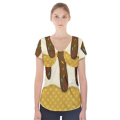 Ice cream zoom Short Sleeve Front Detail Top