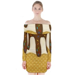 Ice cream zoom Long Sleeve Off Shoulder Dress