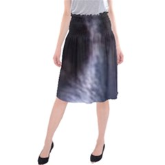 Border Collie B W Eyes Midi Beach Skirt