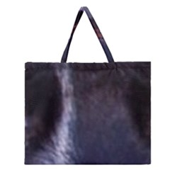Border Collie B W Eyes Zipper Large Tote Bag