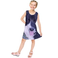 Border Collie B W Kids  Tunic Dress