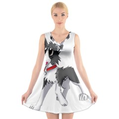 Cartoon Border Collie V-Neck Sleeveless Skater Dress
